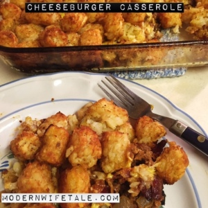 Cheeseburger Casserole = Beef+Cheese+Tater Tots